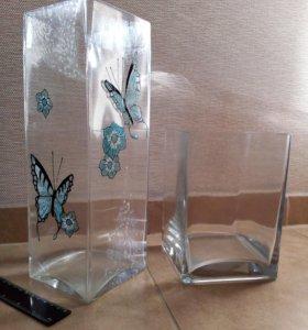 Вазы - стекло, 30 см и 18 см, без сколов