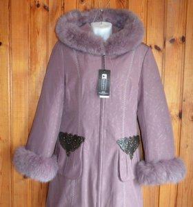 Пальто зимнее с кроличьей подстежкой