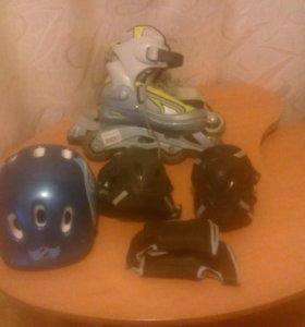 Рол.коньки, шлем, защита