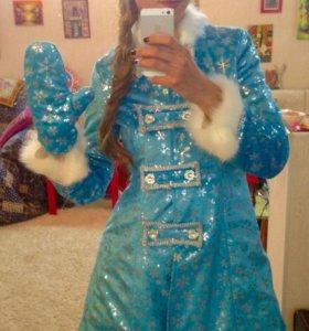 Костюм снегурочки голубой снежинка