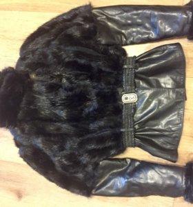 Куртка мех бобер, кожа