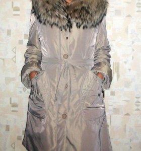 Зимняя куртка-пальто на меху (пихора). Новая, 46 р