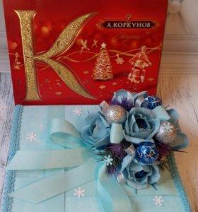Новогоднее оформление коробки конфет Коркунов