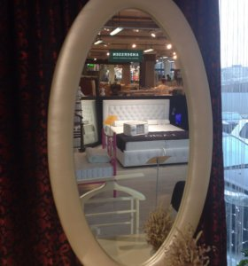 Зеркало овальное в экокоже. Размер 136 см*75 см.