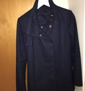 Пальто темно синее