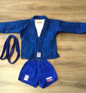 Форма для самбо, борцовка с поясом и шорты, на рос