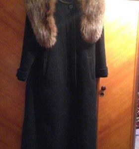 Зимнее пальто, мех песец натуральный