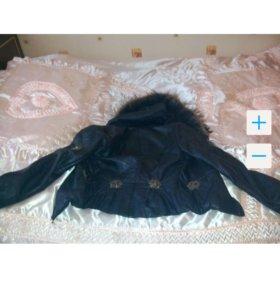 Куртка кожаная осенняя с натуральным мехом