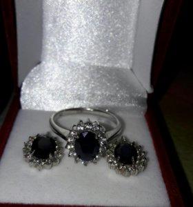 СЕРЕБРО серьги кольцо с сапфиром цирконы новое