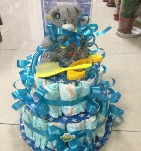 Торт из памперсов подарок в честь рождения малыша!