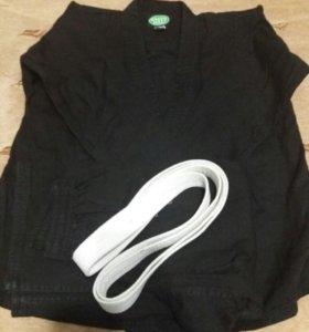 Кимоно детский(черный) с белым поясом(Б/У)
