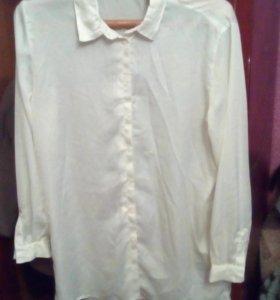 Кремовая длинная рубашка новая