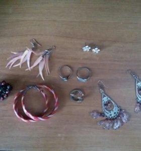 Сережки, кольца и заколки