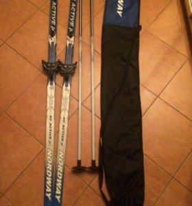 Лыжи(с креплением)+лыжные палки+чехол.