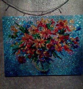 """Картина""""Разноцветные ромашки"""" из страз"""