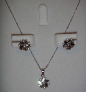 Новый комплект бижутерии с кристаллами Сваровски