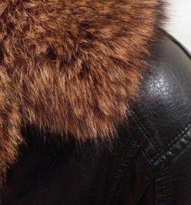 Новая кожаная куртка на меху с отделкой из енота