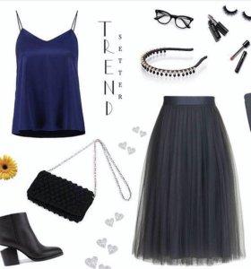 Темно-серая фатиновая юбка