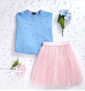 Фатиновая юбка мини розовая