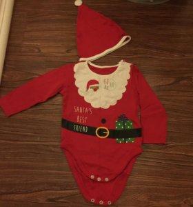Новогодний боди для малышей Санта (mothercare)