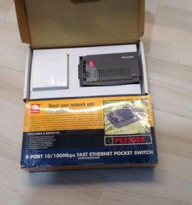 Ps2208b compex 8-порт 100mbit switch почти новый