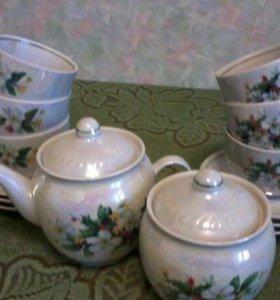 Чайный набор 6 кружек с блюдцами, заварочный чайни