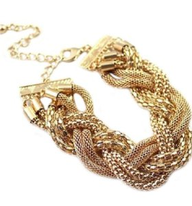 Комплект колье и браслет под золото