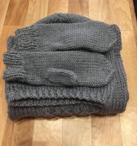 Набор: шапка, снуд/шарф и варежки