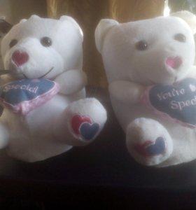 Тапочки игрушка медвежонок