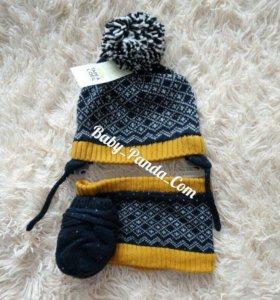 Комплект шапка перчатки шарф