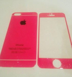 Комплект защитных стекл для айфона 5/5s розовые