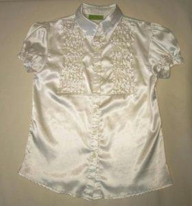 Школьная атласная блузка, рубашка, 10-13 лет