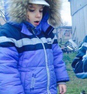 Зимний комбинезон с курткой, мех натуральный енот