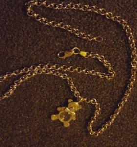 Новый золотой комплект цепь и кулон 585 пр.