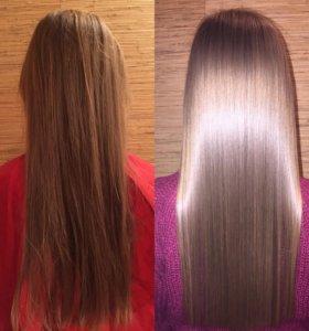 Кератиновое выпрямление,полировка волос