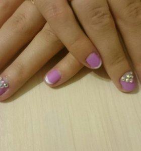 Маникюр + покрытие гель-лаком + дизайн 2 ногтков
