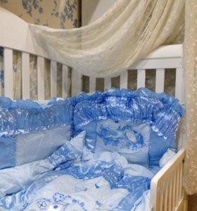 Комплект в кроватку с держателем балдахина