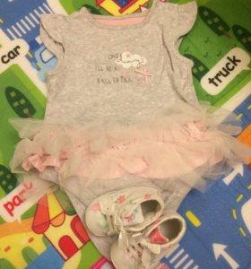 Платье-боди с пинетками mothercare 62 размер фатин