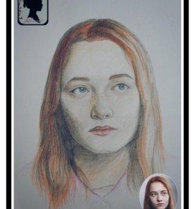 Портрет карандашами и маслом на холсте