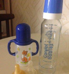 Бутылочки для кормления стекло и пластик
