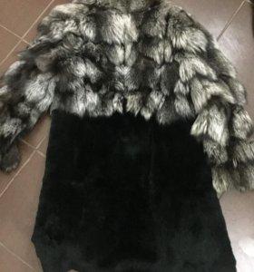 Шуба мех чернобурка+ стриженный кролик