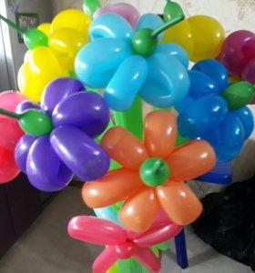 Цветочки из шариков!!!
