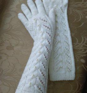 Перчатки вязаные .Ручная работа.