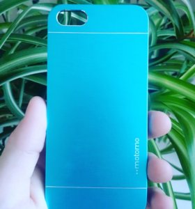 Чехол для iPhone 5 5S SE металлик, голубой