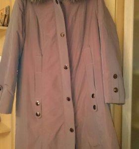 Зимнее женское пальто на кролике. Размер 54-56