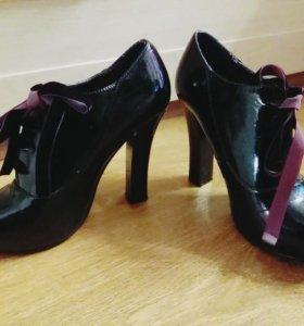 Черно-фиолетовые ботильоны