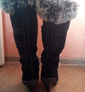 Сапоги зимние натуральная замша-мех