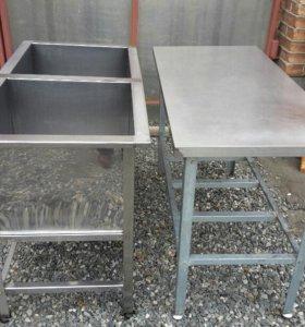 Мойка и разделочный стол из нержавеющей стали