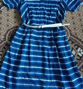 Платье в полоску с белым ремешком