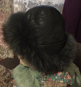 Кожаная шапка ушанка с натуральным мехом